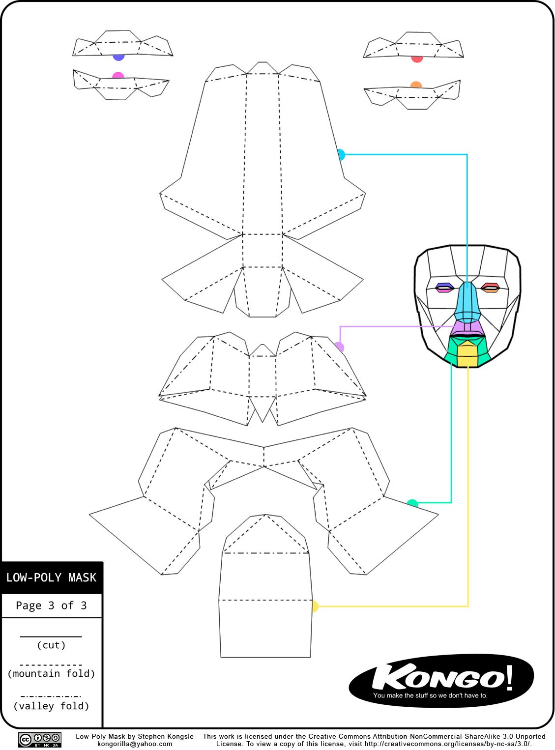 Паперкрафт схемы маска лисы 27