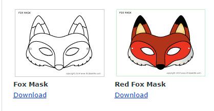 mascara de zorro en papel